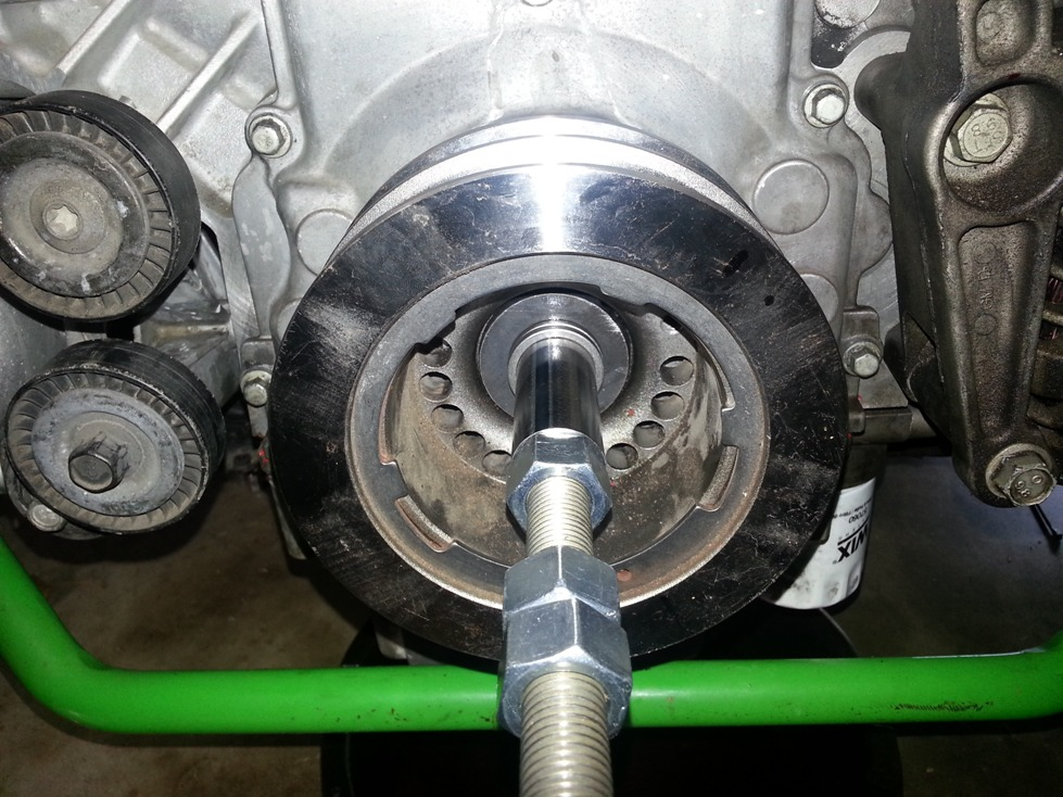 LS1 crank pulley being installed with custom tool